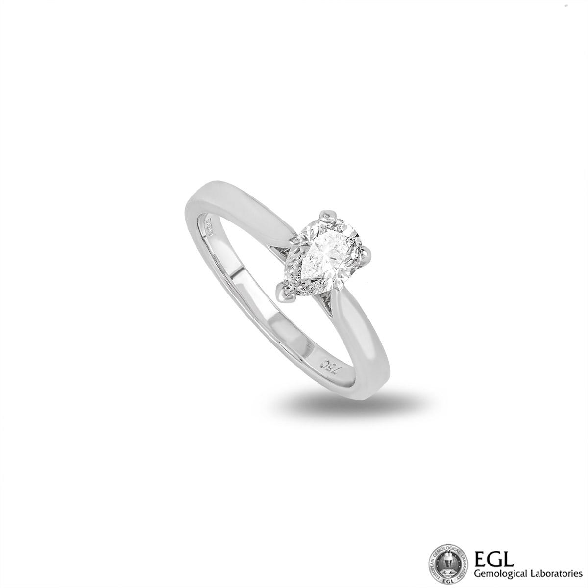 18k White Gold Pear Cut Diamond Ring 0.75ct H/SI2